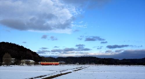 小湊鉄道,雪景色,上総川間,上総鶴舞