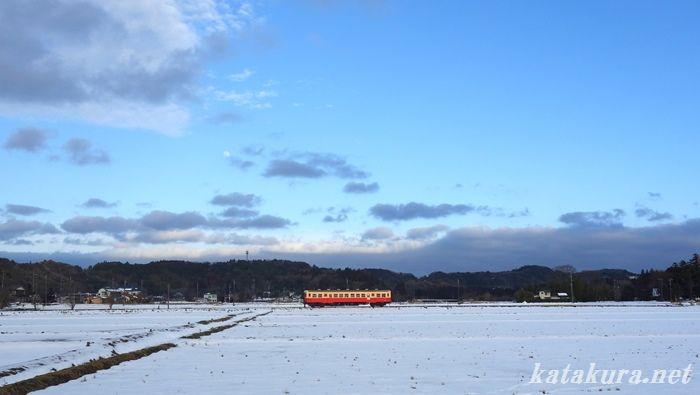 小湊鐵道,上総鶴舞,雪景色