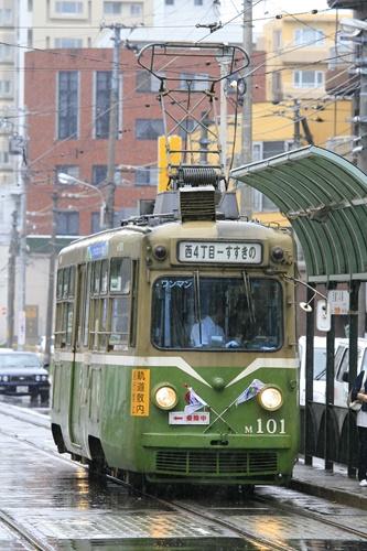 札幌市電,旧型電車,雨の札幌,路面電車